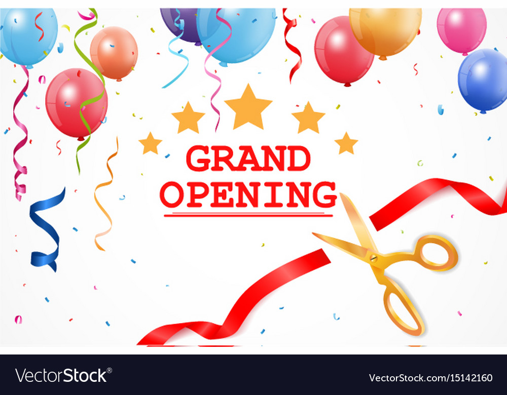 grand opening banner with confetti and cutting rib