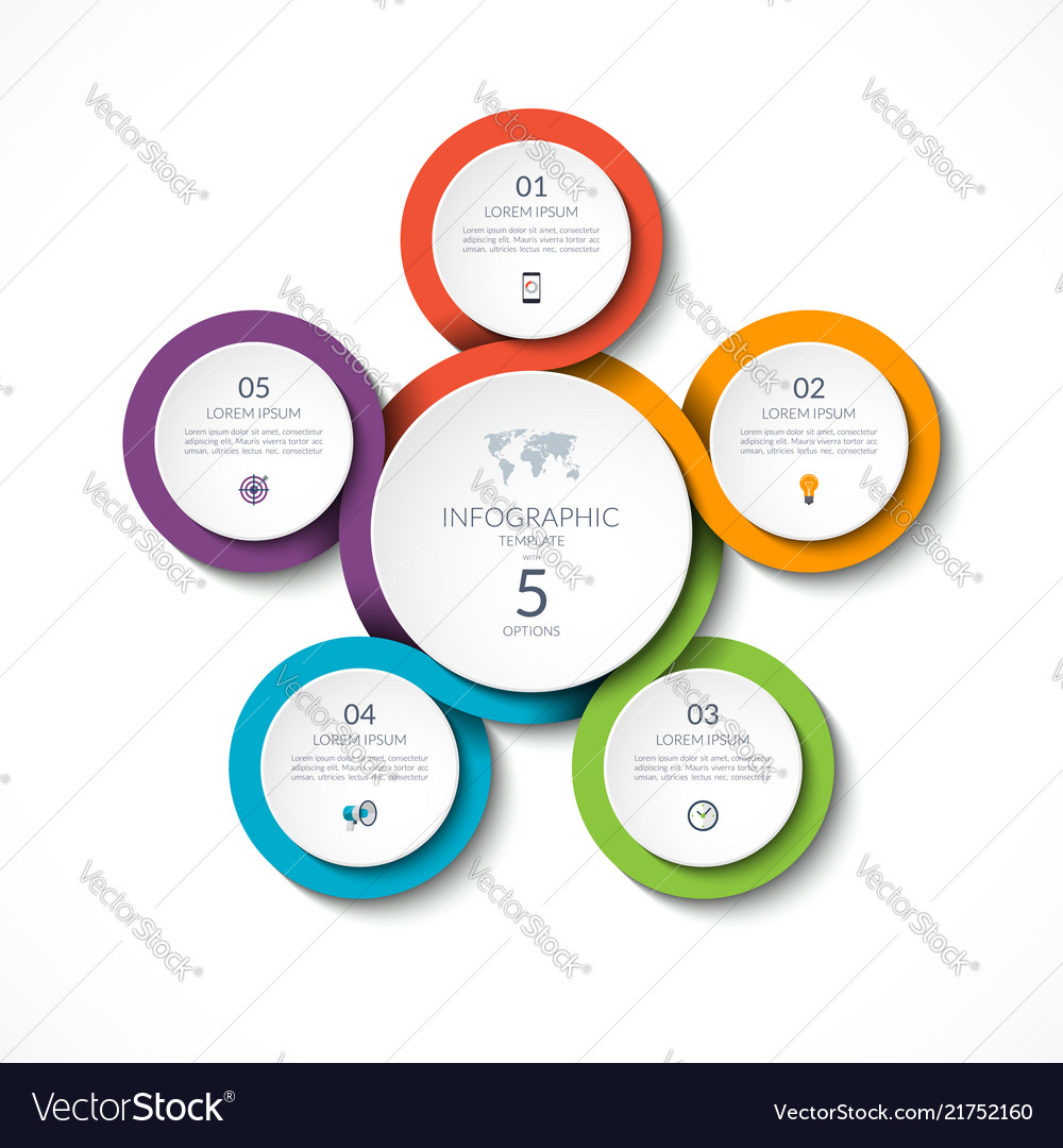 infographic circular template with 5 options vector image