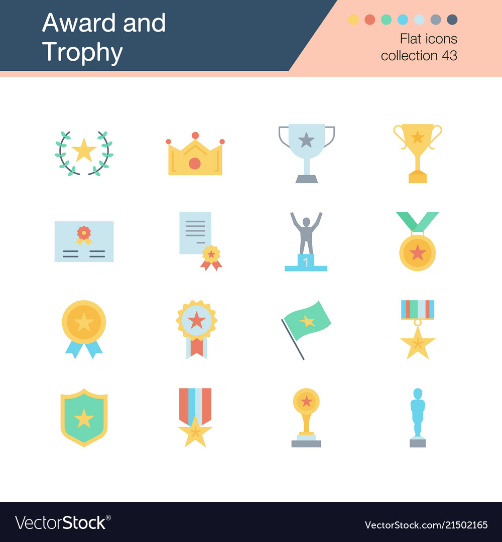 Award and trophy icons flat design collection 43
