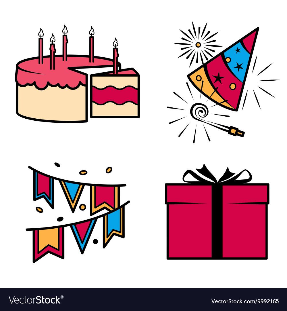 Birthday party celebration icons set