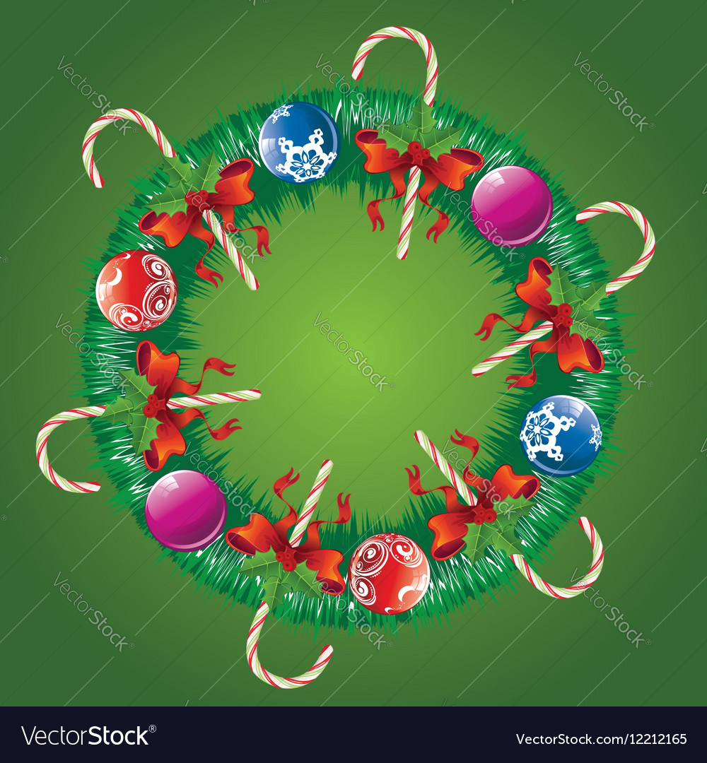 Decorated Christmas Wreath3 vector image