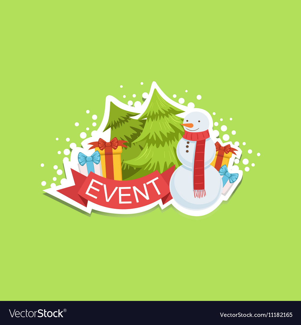 Event Template Label Cute Sticker With Snowman And