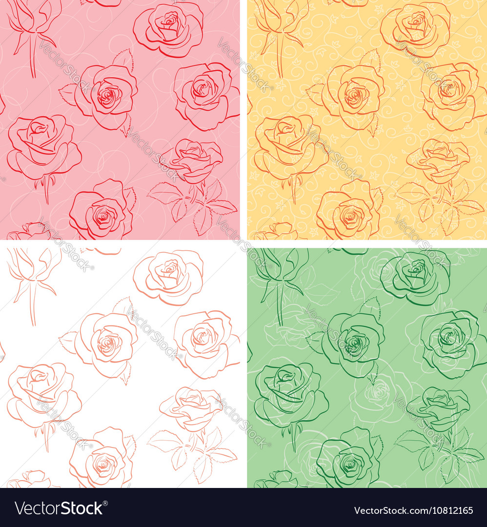 Floral Backgrounds With Beautiful Roses Set Vector Image