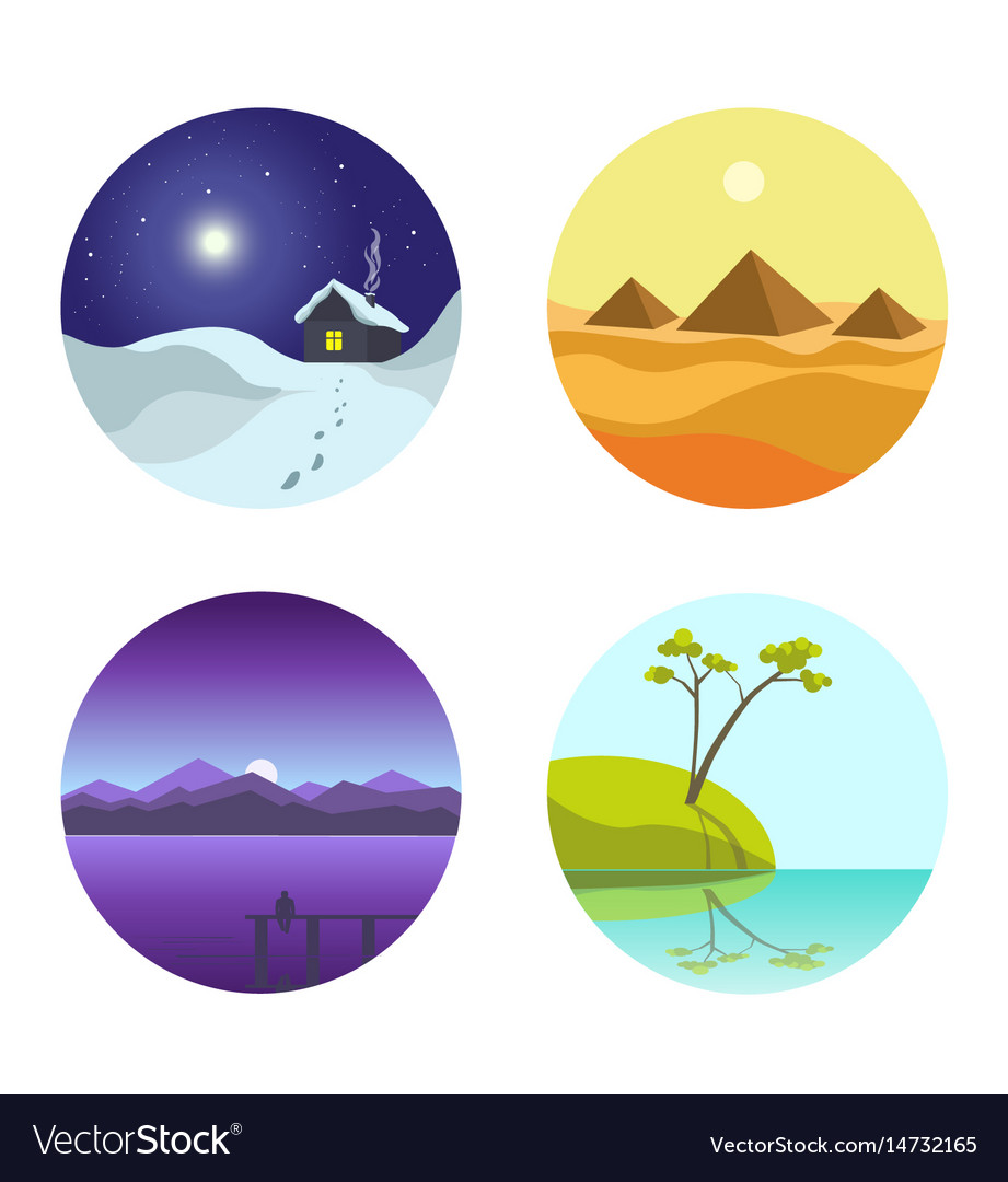 Four landscape colorful round pictures isolated on