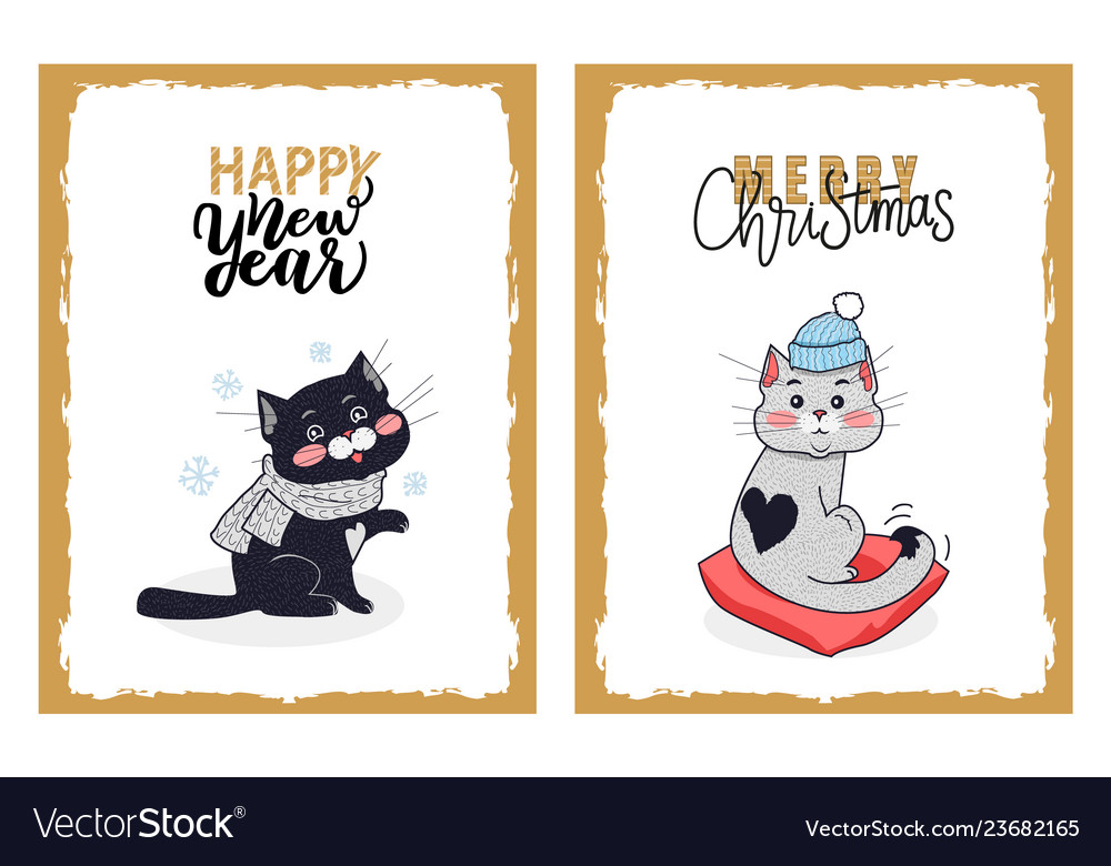 Happy new year and merry christmas greeting cards