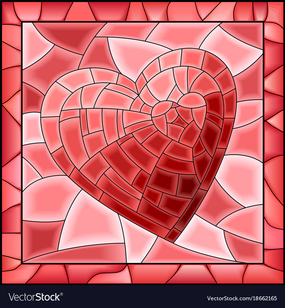 Heart stained glass window with frame