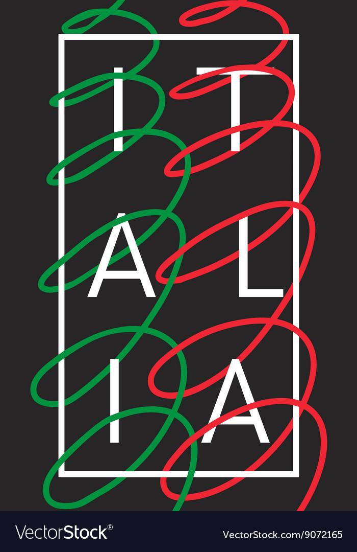 Italy Italia graphic typography design vector image
