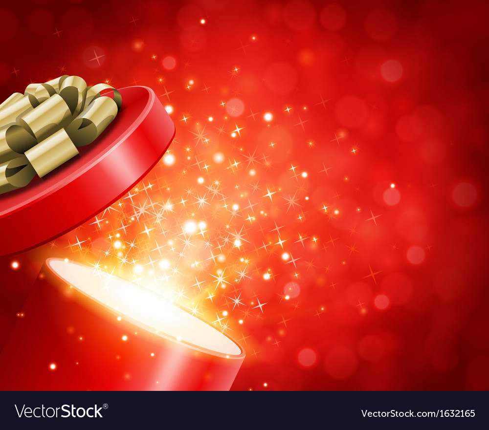 Open gift and light fireworks christmas vector image