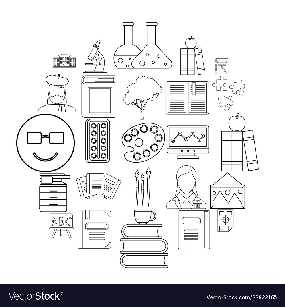 Research icons set outline style