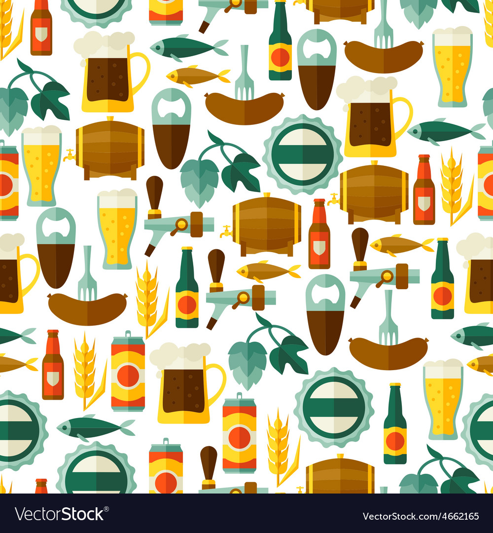 Seamless pattern with beer icons and objects
