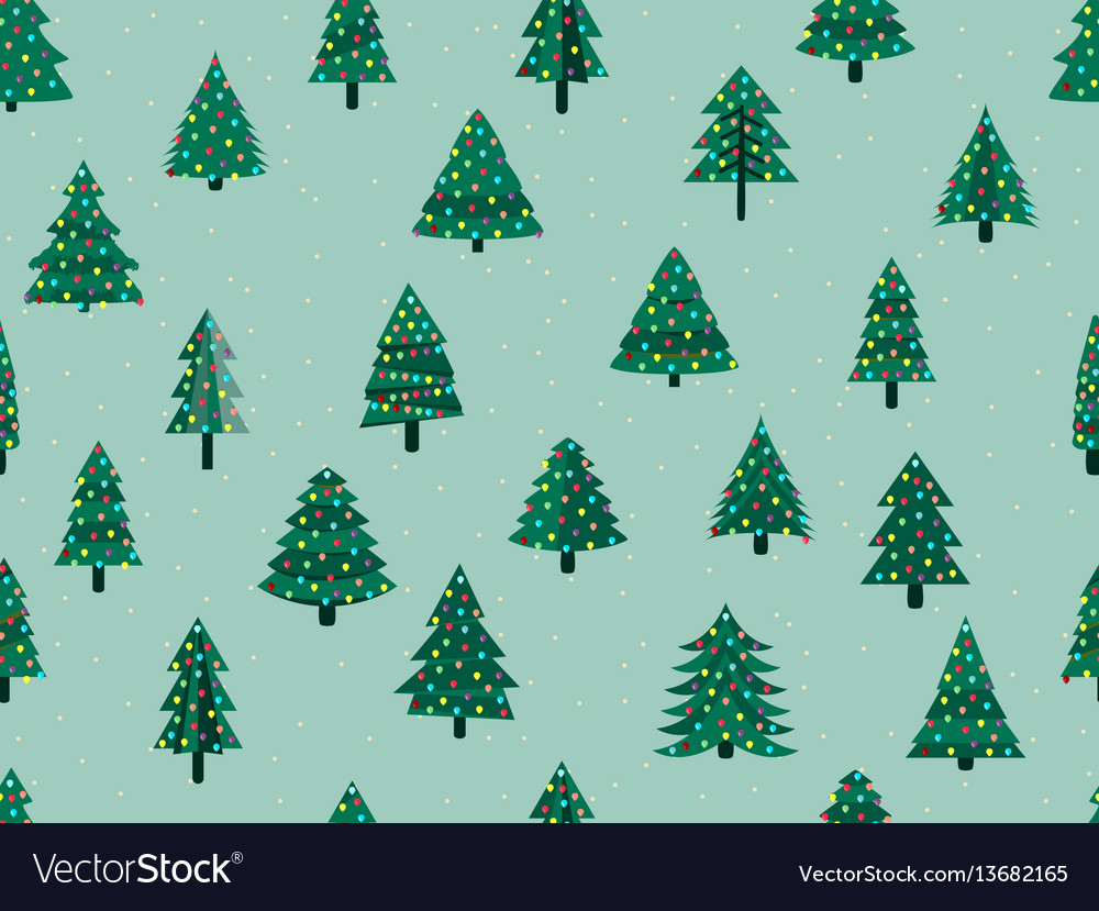 Seamless pattern with christmas trees in a flat
