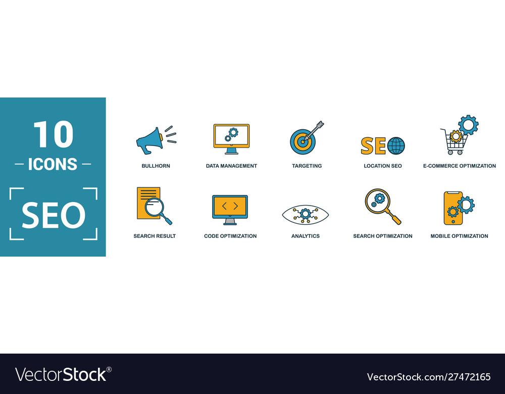 Seo icon set include creative elements search