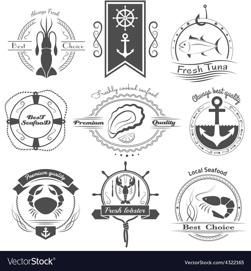 Set of logos seafood