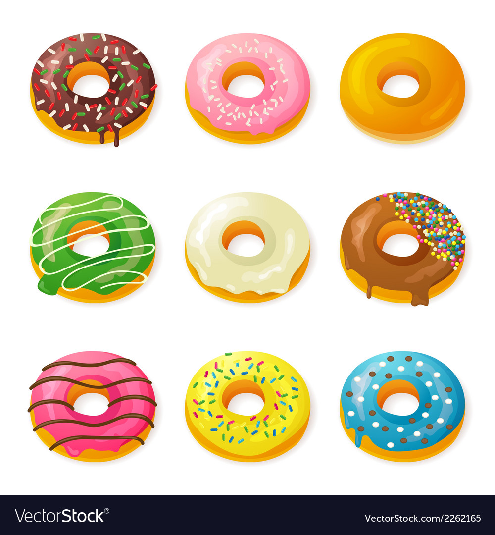 Set of tasty donuts