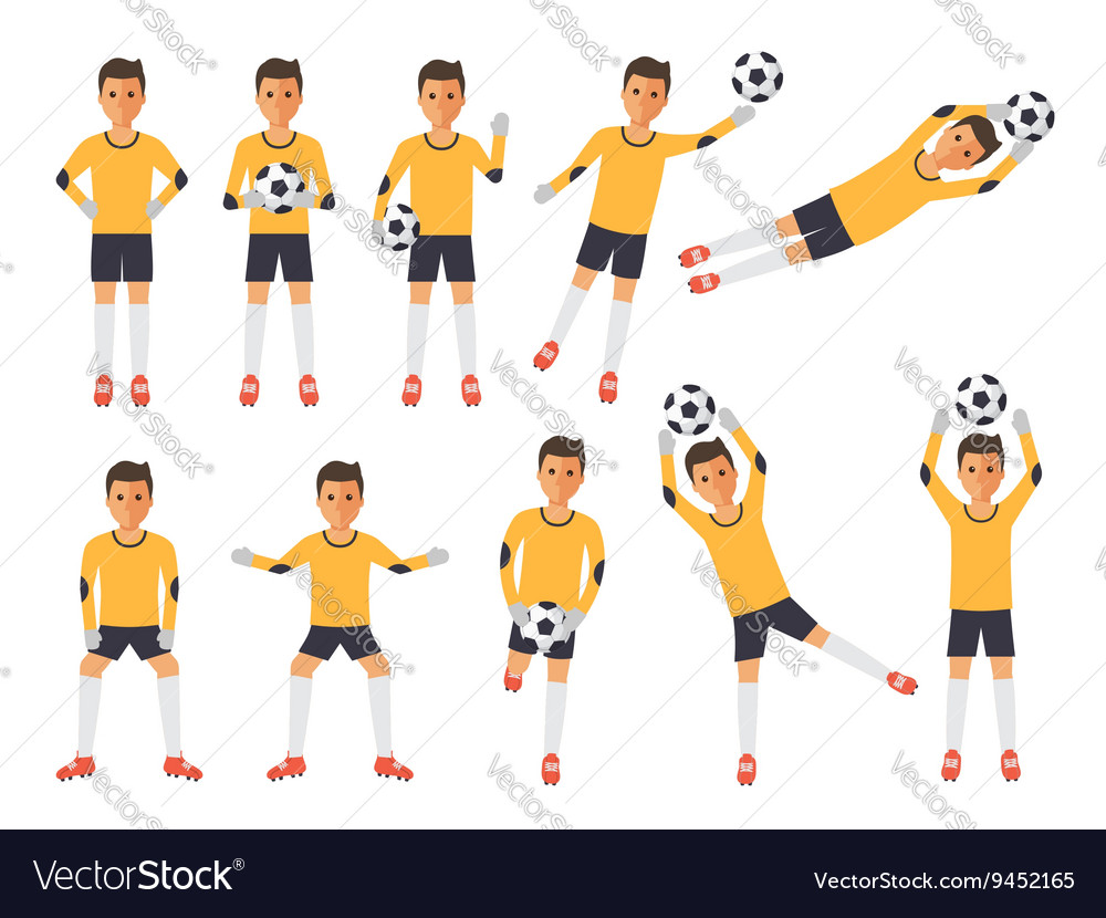 Soccer players football goalkeeper in actions vector image