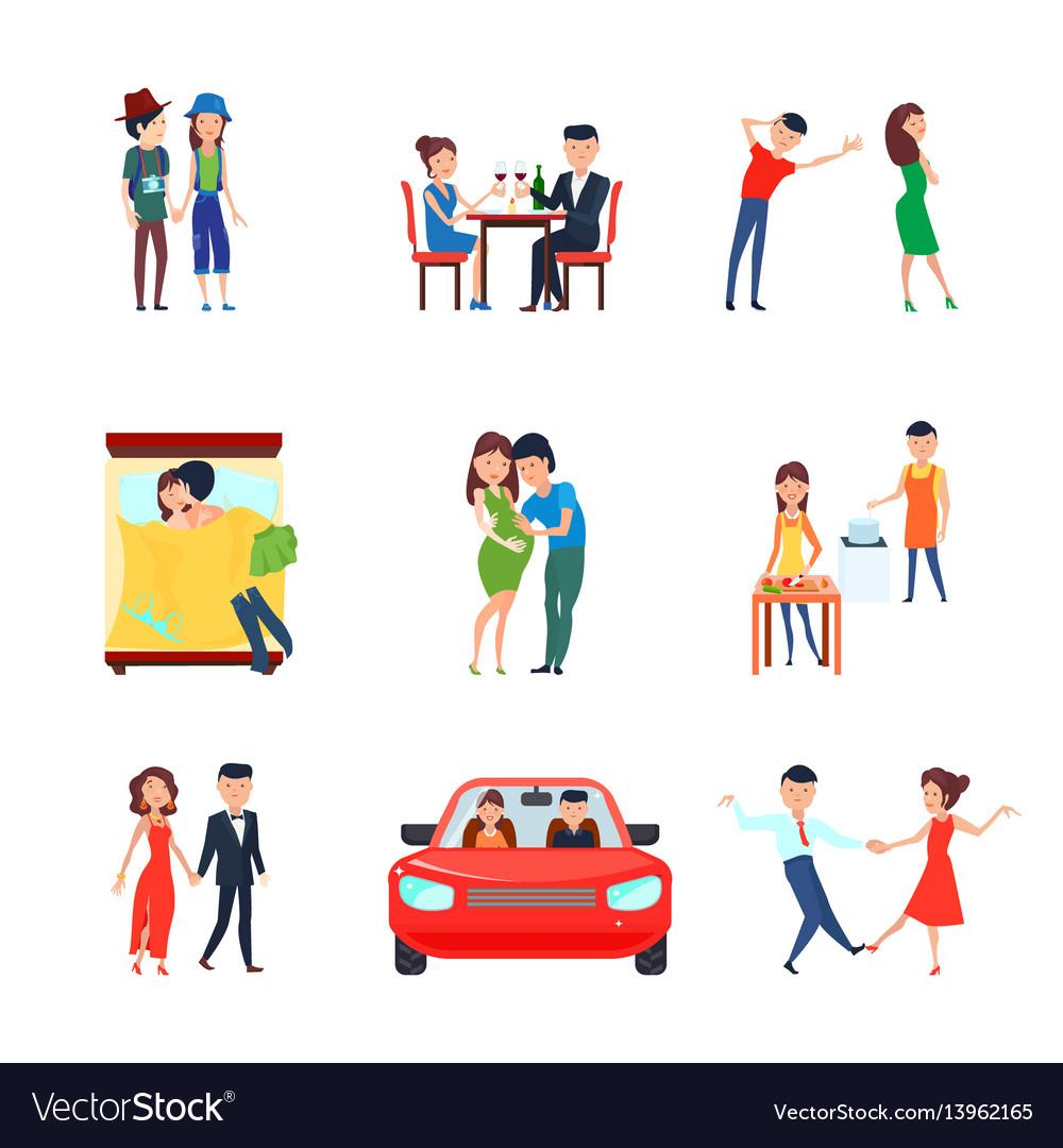 Wife husband responsibilities icon set vector image
