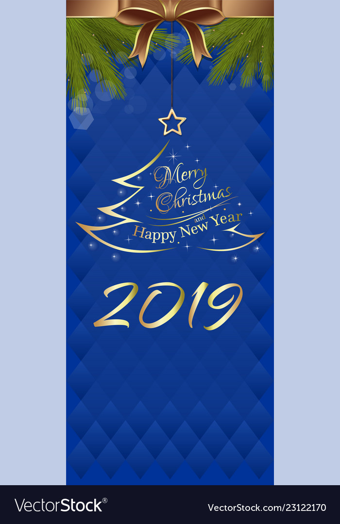 blue vertical banner for new year 2019 vector image