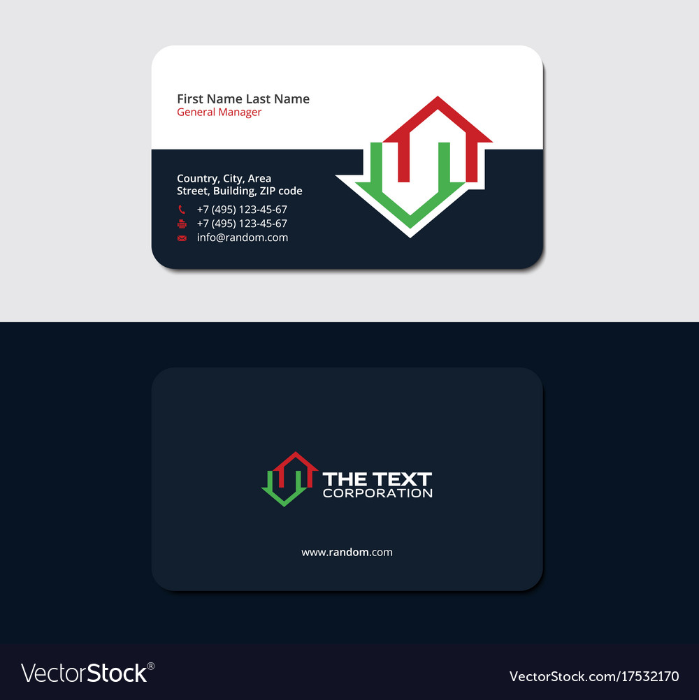 Business card for a real estate consultant vector image colourmoves