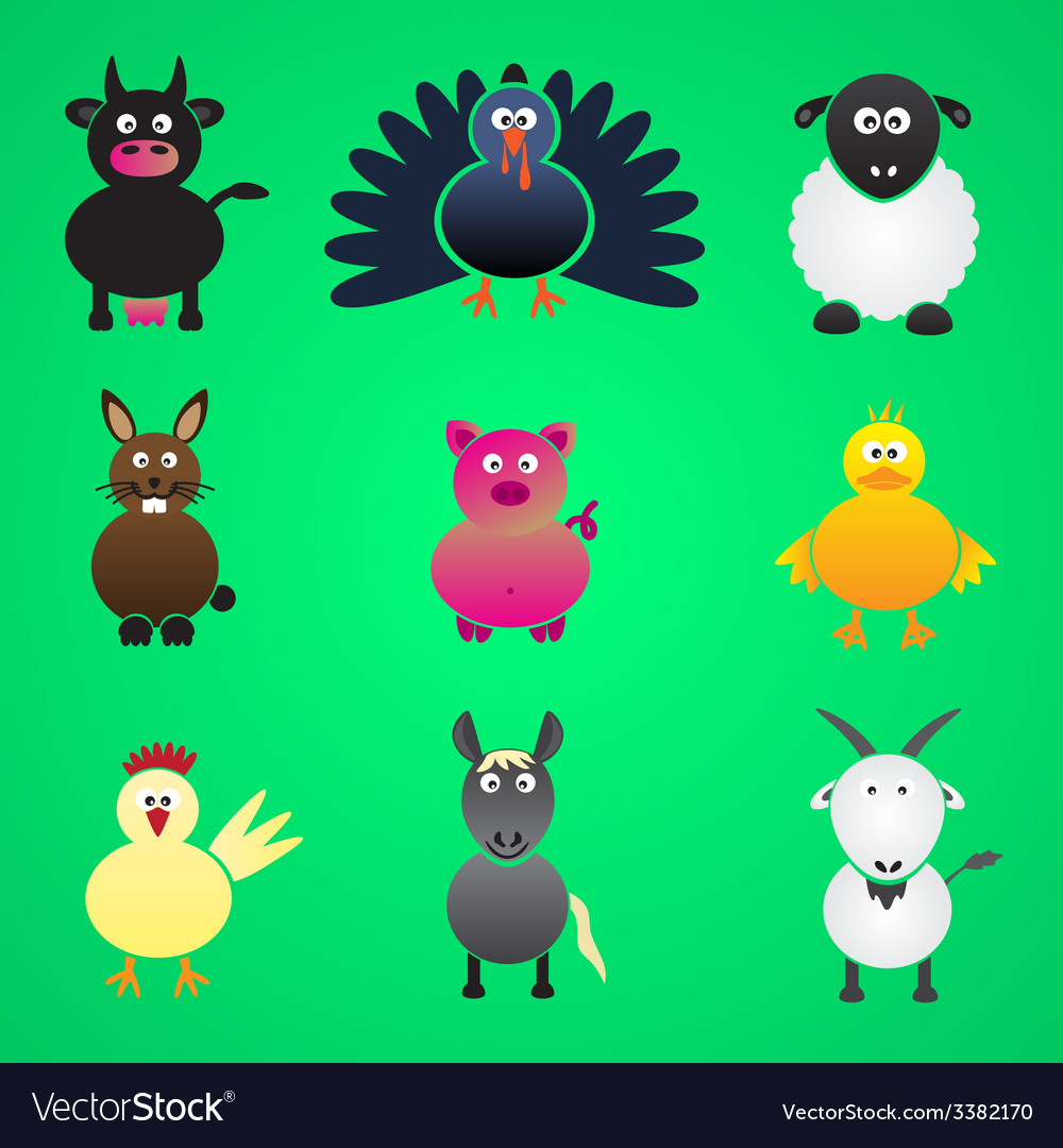 Colorful farm animals simple icons set eps10