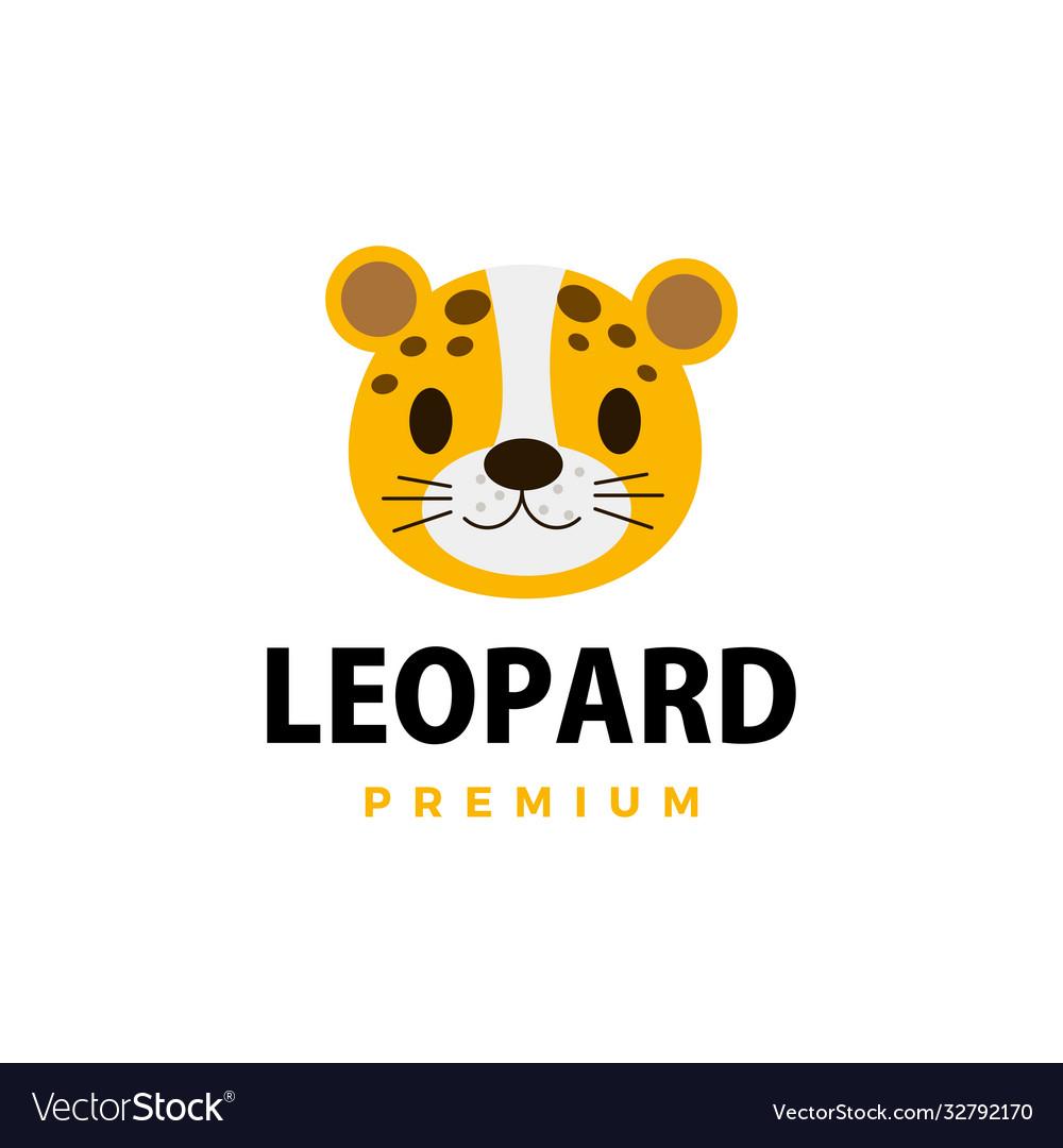 Cute cheetah leopard flat logo icon