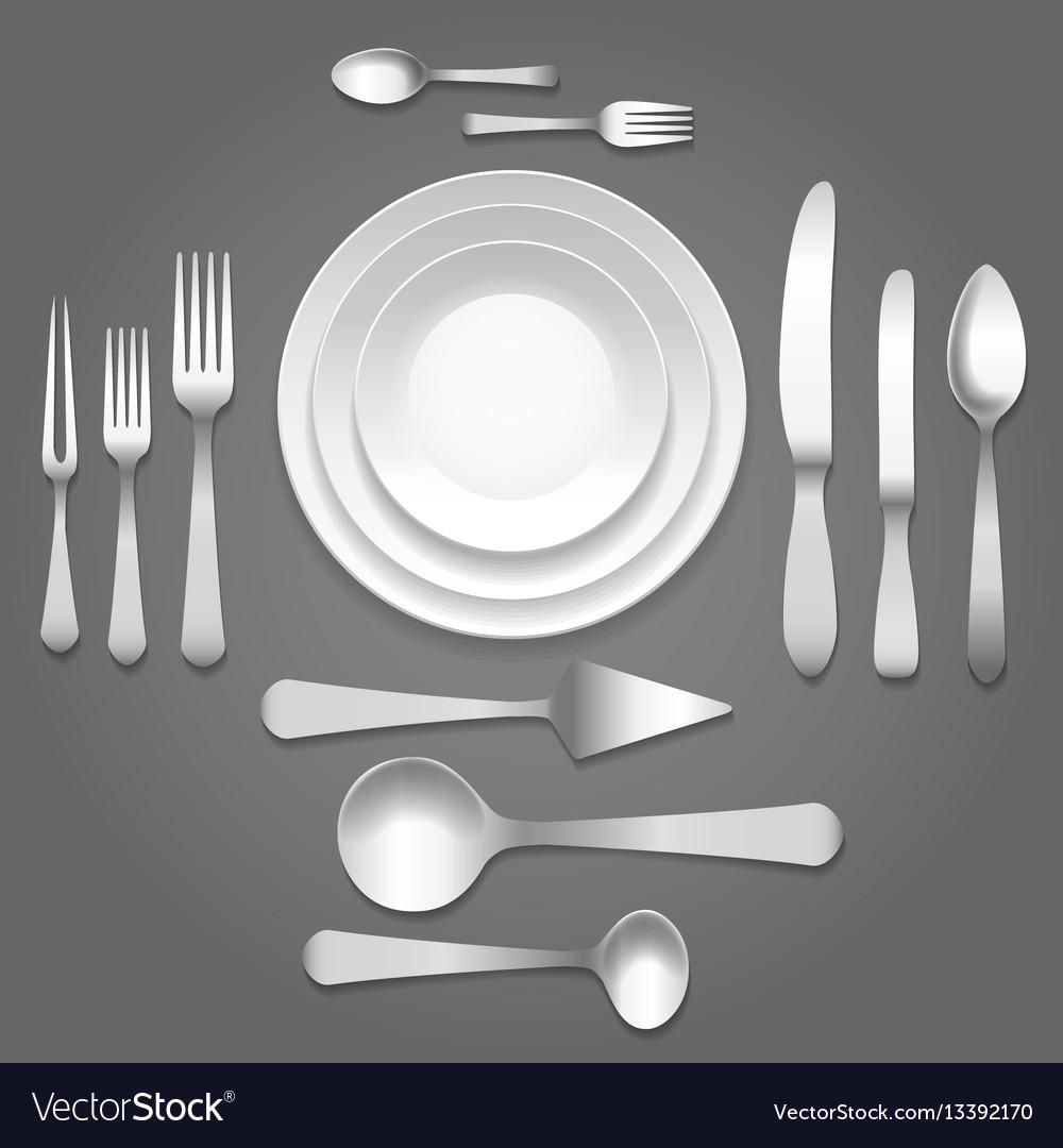 Dinnerware top view vector image