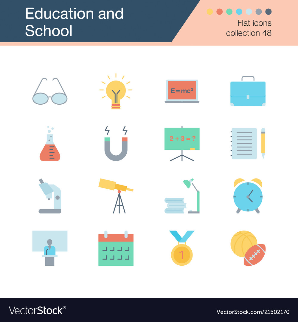Education and school icons flat design collection