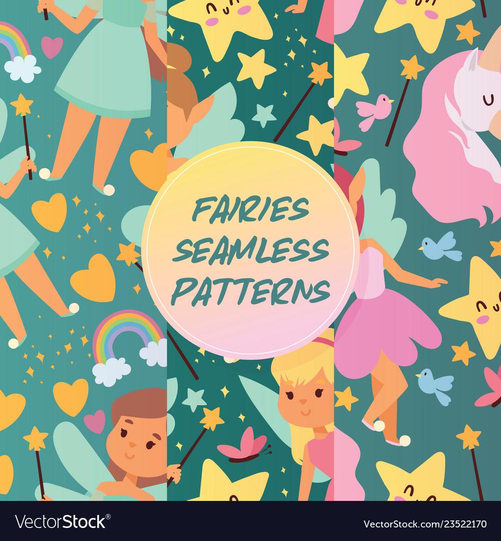 Fairy girl seamless pattern magic faery