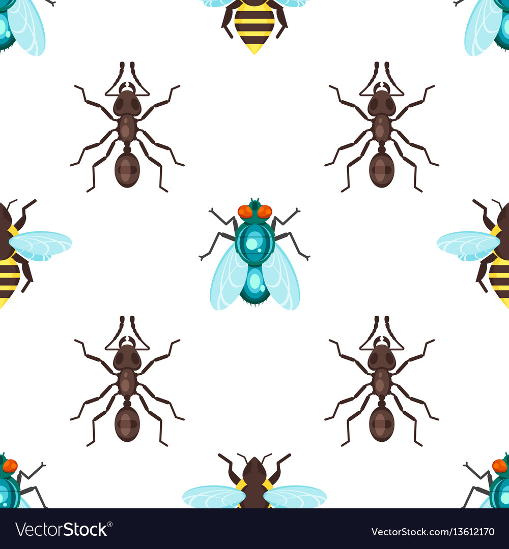 Flat style seamless pattern with ants bees and fly