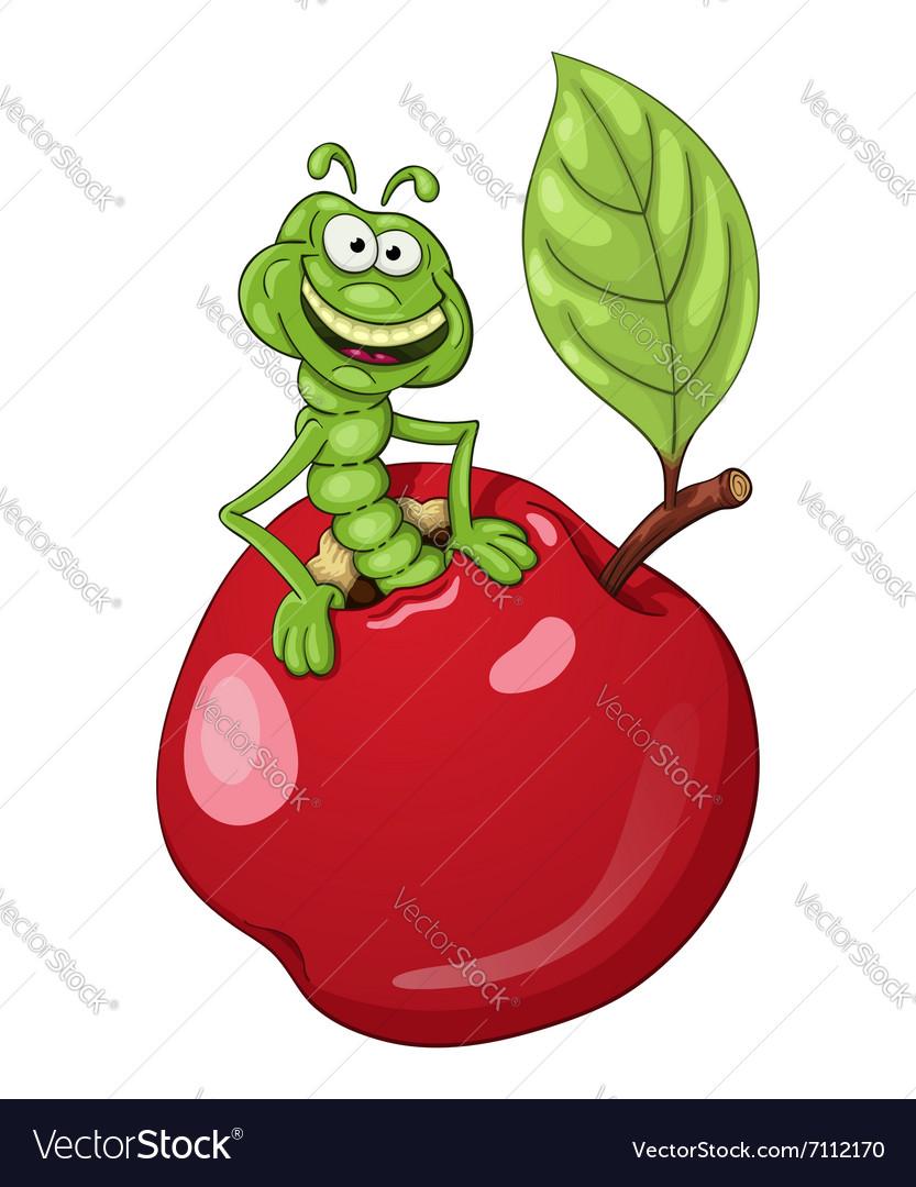 Funny cartoon worm in apple