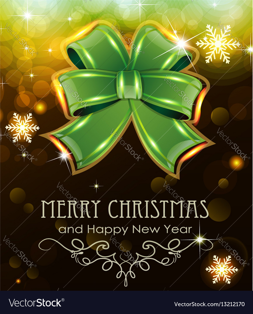 Green christmas bow on holiday background