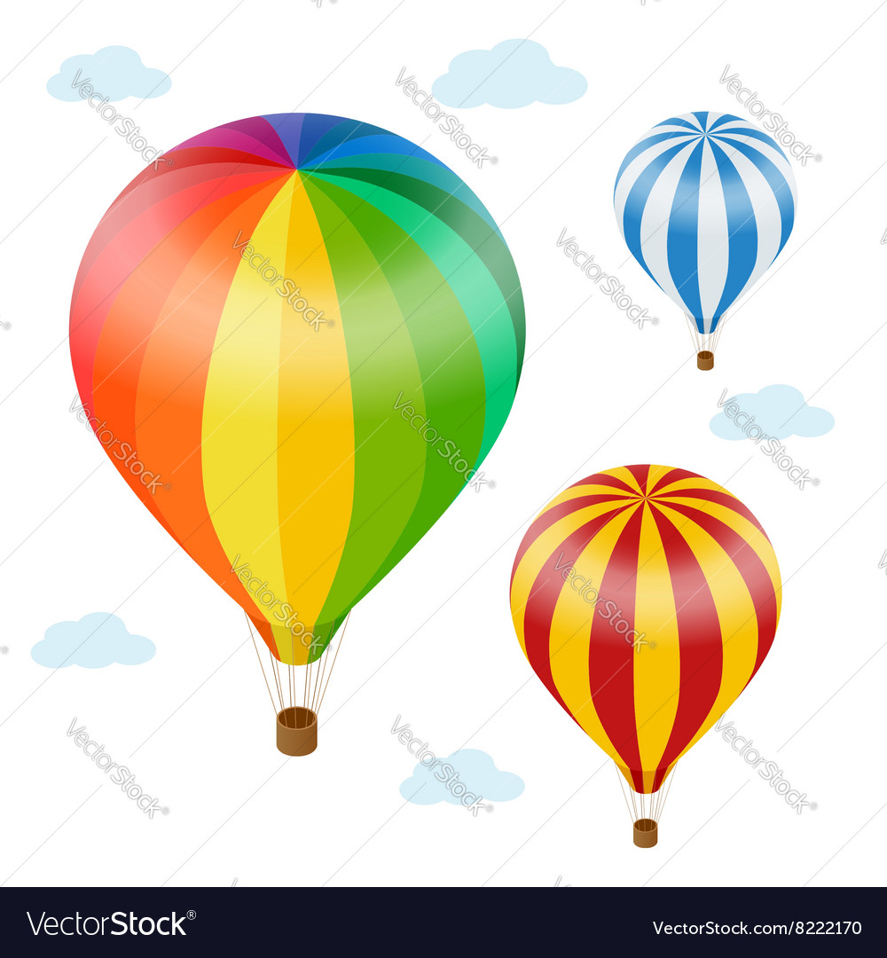 Hot air balloon in the sky with clouds Flat 3d