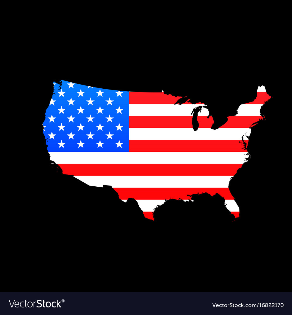 Map Of Usa With American Flag Texture Royalty Free Vector - American-flag-us-map