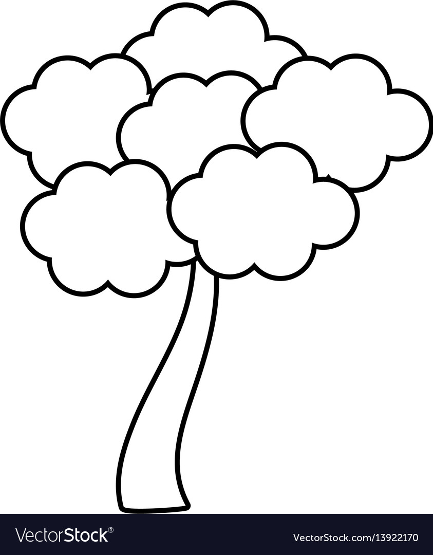 Outlined tree sakura japanese vector image
