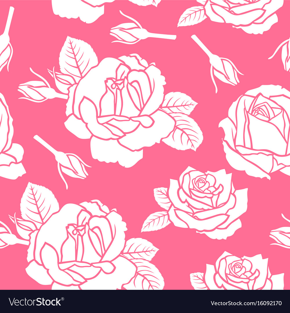 Roses flowers pattern seamless on pink background