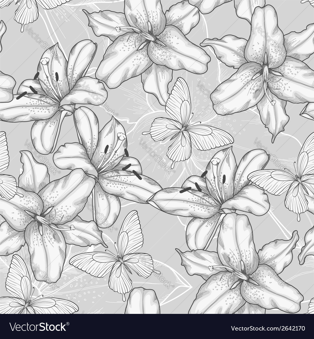 Seamless background with lilies and butterflies