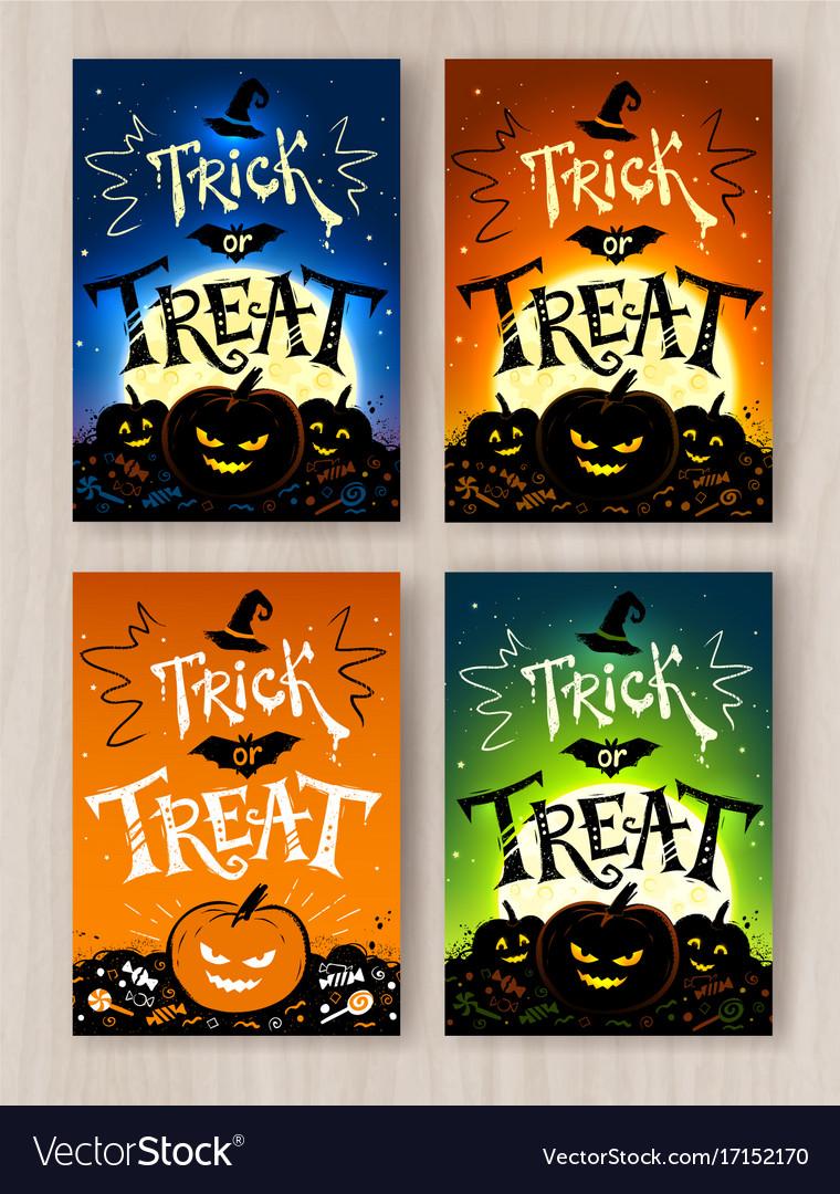 Trick or treat halloween postcards designs vector image