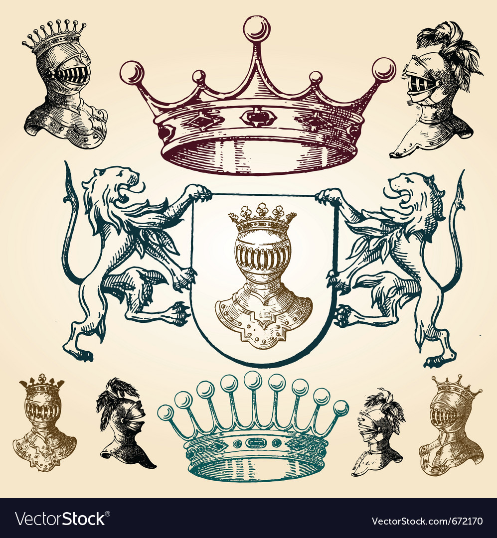Vintage heraldry elements