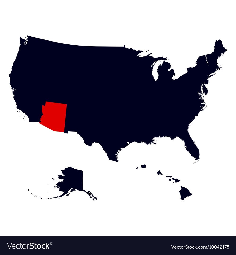 Arizona State in the United States map