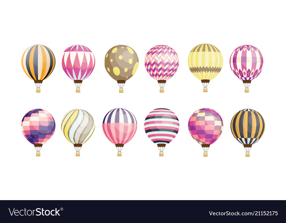 Collection of round hot air balloons of various
