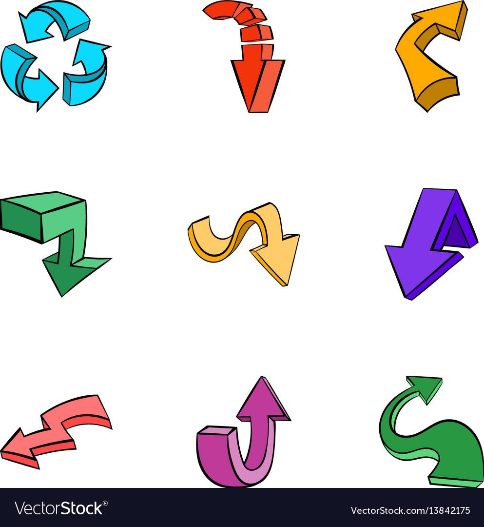 Cursor icons set cartoon style