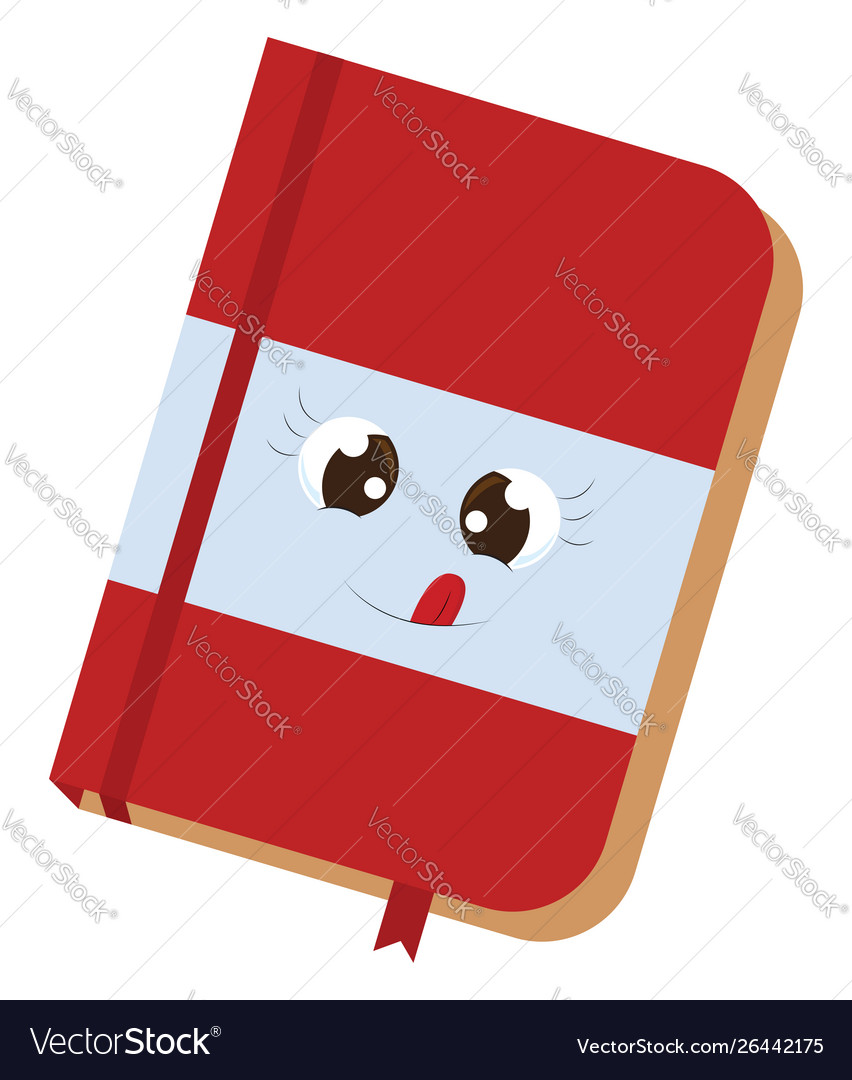 Cute red notebook on white background