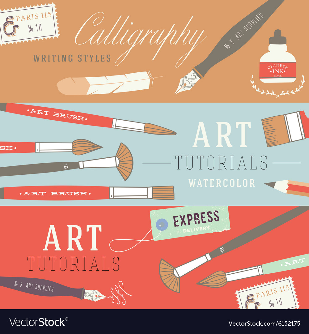 Flat design concepts for art courses vector image