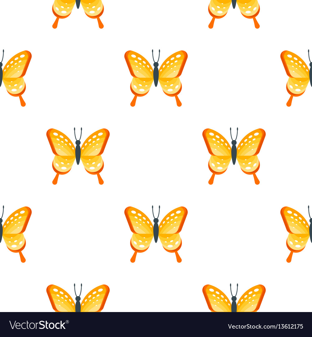Flat style seamless pattern with butterfly