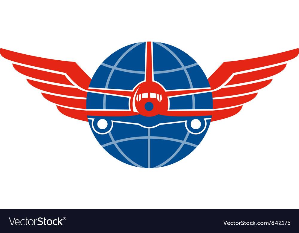 Jumbo Jet Plane Front Wings Globe vector image
