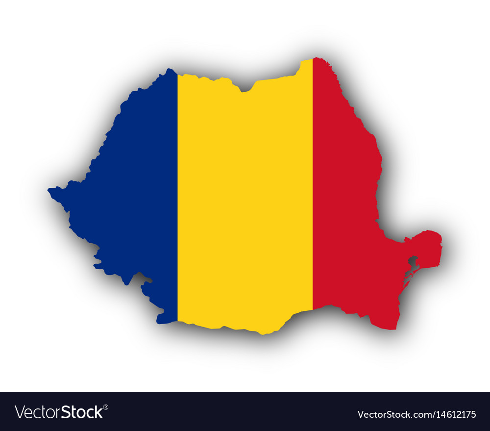 Map and flag of romania