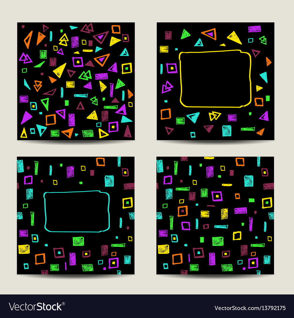 Set of four square cards with geometric shapes vector image