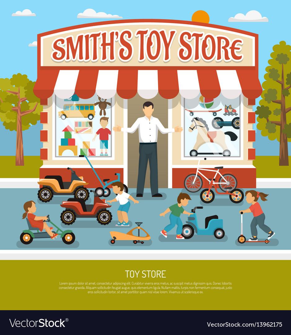 Toy shop flat background