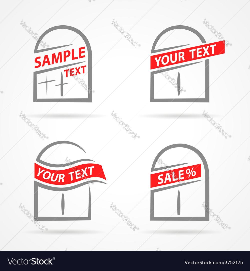 Windows set emblem label your text element icons vector image