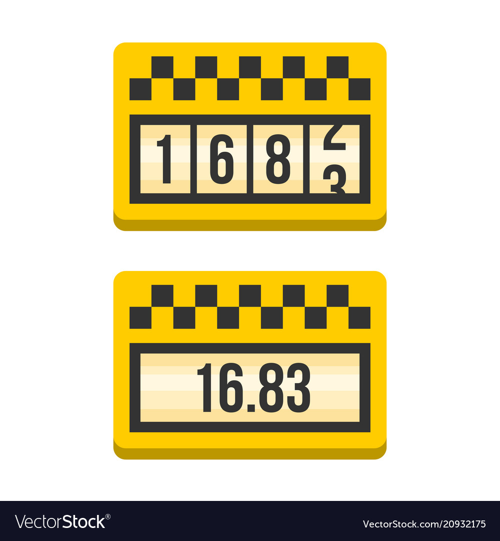 Yellow taximeter icon set flat style vector image