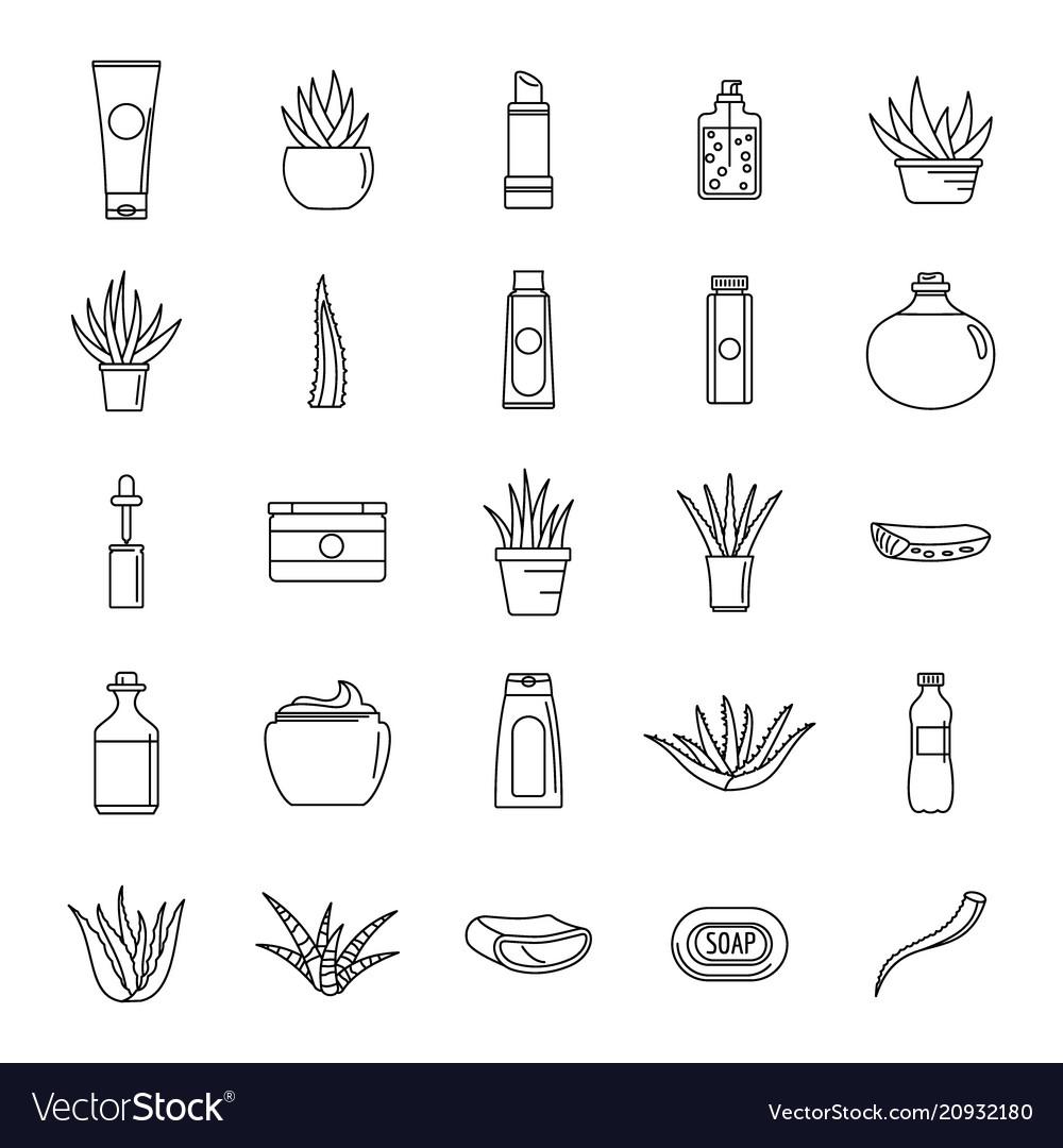 Aloe vera plant logo icons set outline style